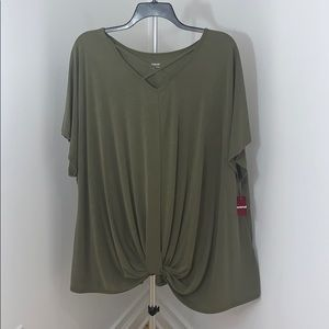 New Womens Plus Size Army Green Cage Neck Top